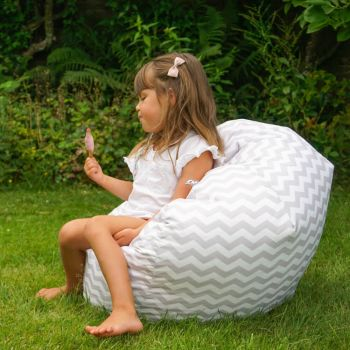 Grey Chevron Handle Beanbag - Indoor/Outdoor