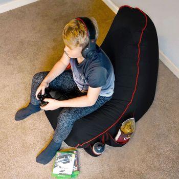 Black rugame Kids Gamer Bean Bag Chair - Red