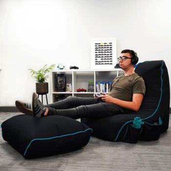 Black rugame Gamer Bean Bag Footstool - Turquoise