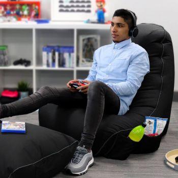 Black rugame Gamer Bean Bag Chair - Black