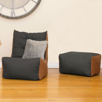 Barley Busby Chair and Ottoman Set in Charcoal