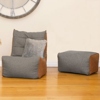 Barley Busby Chair and Ottoman Set in Platinum