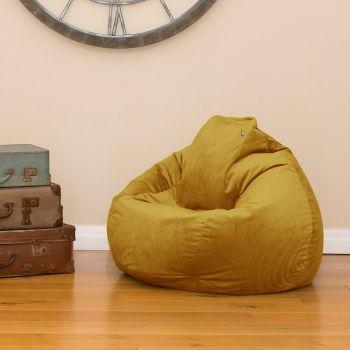 Mustard Velvet Slouch bag Beanbag