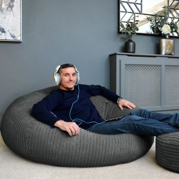 Giant jumbo cord beanbag in slate grey