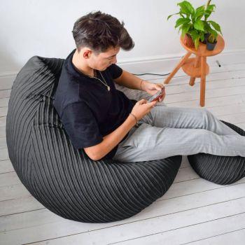 Jumbo Cord Slouchbag - Slate Grey