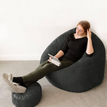 Faux Suede Flob A Dob Bean Bag in Slate Grey