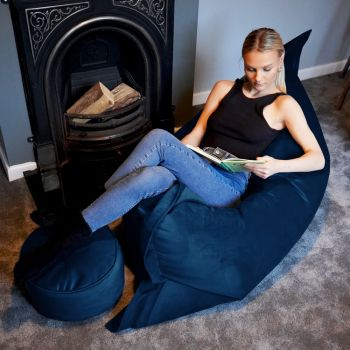 Extra Large Squarbie Bean Bag - Velvet - Peacock Blue
