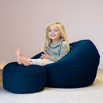 Mini-Slouch Kids Velvet Beanbag - Peacock Blue