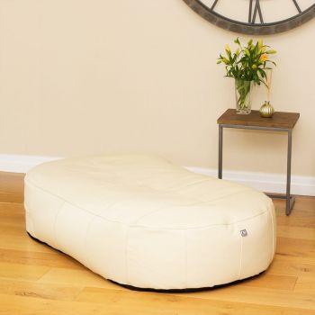 Cream Real Leather Large 150cm Slob Slab© Bean Sofa  Bean bags