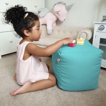 Kids Cube Beanbag - Trend In Aquamarine