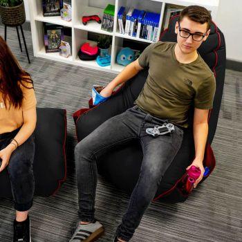 Black rugame Gamer Bean Bag Chair- Red