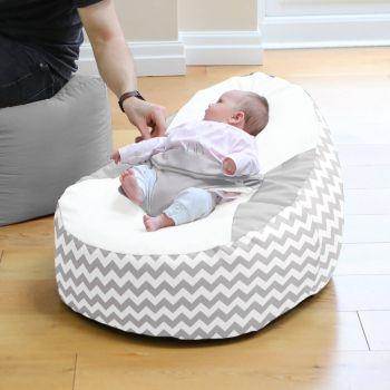 Grey Chevron Gaga Baby Beanbag
