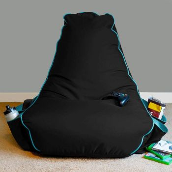 Black rugame Kids Gamer Bean Bag Chair - Turquoise