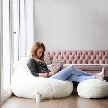 Cream Fur Bean Bag and Cream Fur Footstool