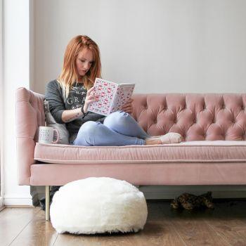 Cream fur footstool