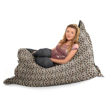Luxury Faux Suede Animal Print Squashy Squarbie© Extra Large Beanbag-Snow Leopard