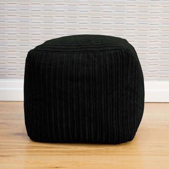 Black Jumbo Cord 40 x 40 cm Cube Beanbag