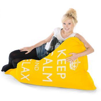 Yellow Junior Keep Calm Squashy Squarbie Bean Bag Adult Beanbags