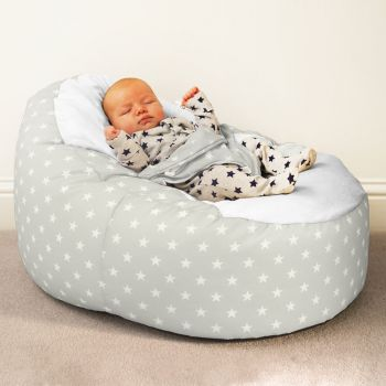 Gaga+ Baby Beanbag Platinum Grey with Stars Pattern