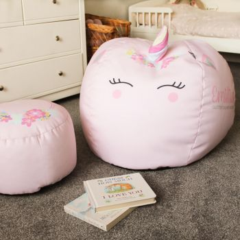 3D Kids Unicorn Baby Pink Beanbag Small