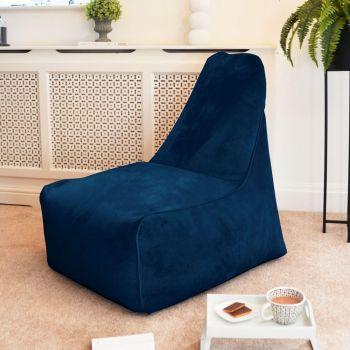 Velvet Raja Bean bag Chair in Peacock Blue