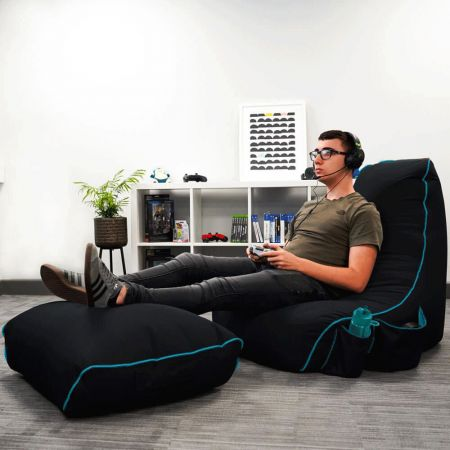 Black rugame Gamer Bean Bag Footstool - Turquoise