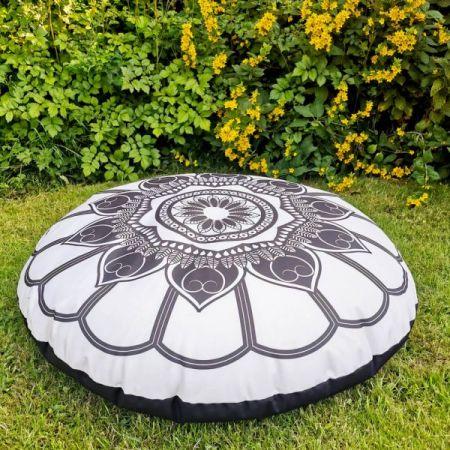 Black and Cream Mandala Floor Cushion