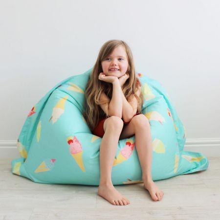 Junior Kids Squarbie Bean Bag with Ice Cream Pattern