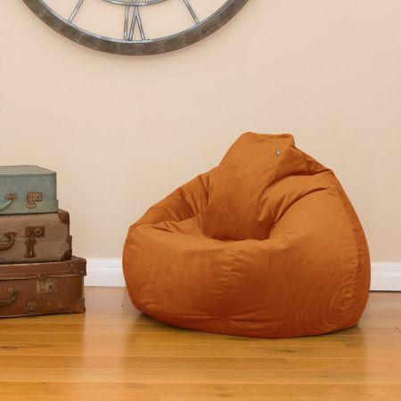 Burnt Orange Velvet Slouchbag Beanbag