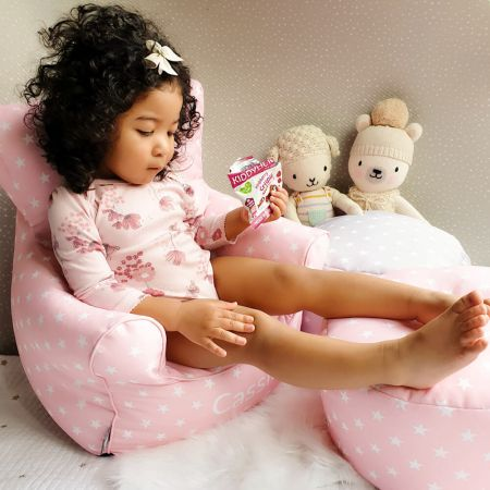 Stars Toddler Armchair Beanbag-Baby Pink