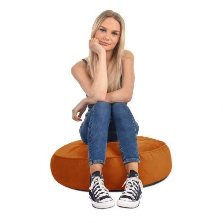 Velvet Round Floor Cushion - Burnt Orange