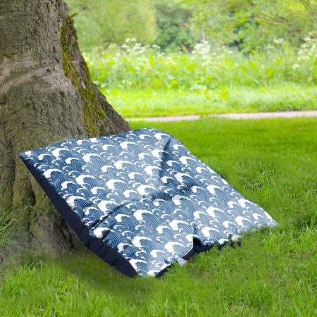 Wave print indoor/outdoor floor cushion