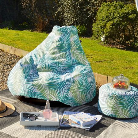 Green Tropical Leaf Extra Large Classic Beanbag  - Indoor/Outdoor