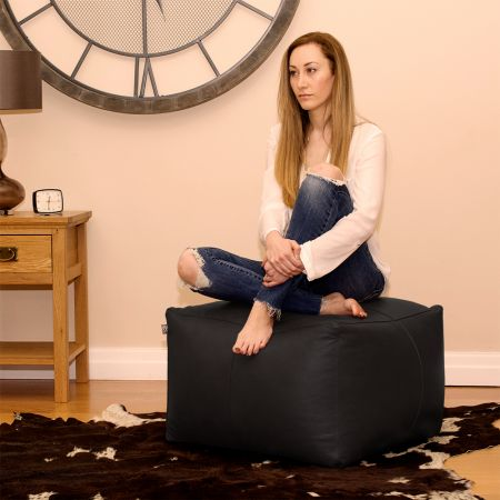 Real Leather Black Ottoman
