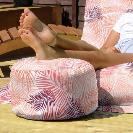Pink Tropical Leaf Footstool - Indoor/Outdoor