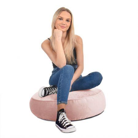 Velvet Round Floor Cushion - Pink