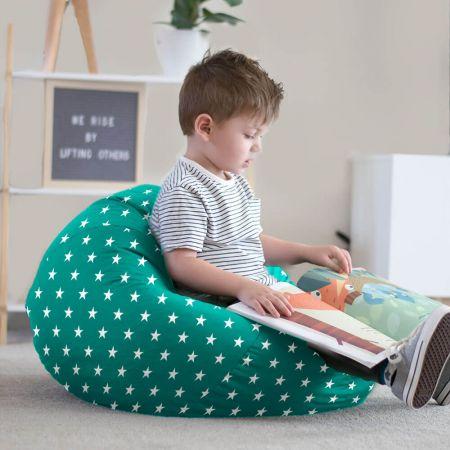 Little boy reading in a jade small kids stars bean bag