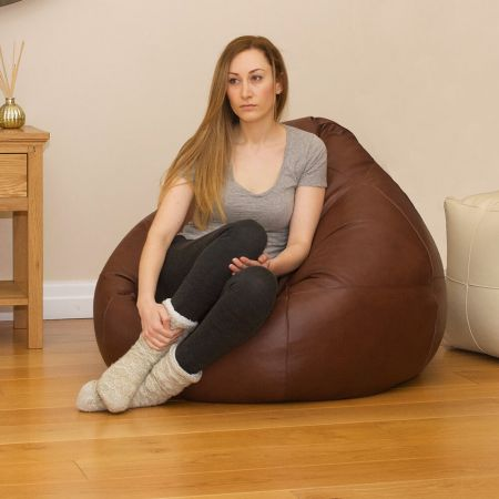 Real Leather Slouchbag Bean Bag