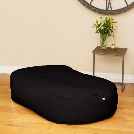Black Real Leather Large 150cm Slob Slab© Bean Sofa  Bean bags