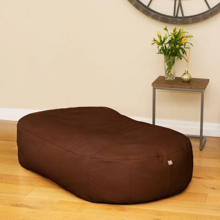 Tan Real Leather Large 150cm Slob Slab© Bean Sofa  Bean bags