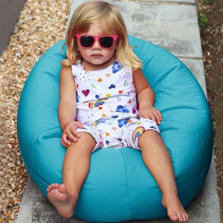 Small Kids Indoor/Outdoor Beanbag in Turquoise