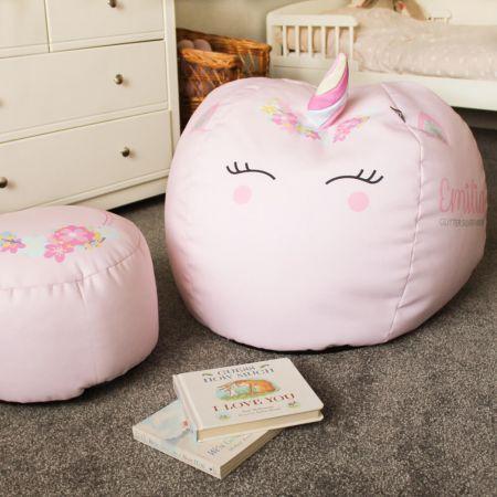 3D Kids Unicorn Baby Pink Beanbag Small