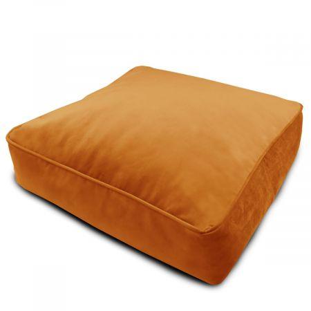 Velvet Square Floor Cushion - Burnt Orange