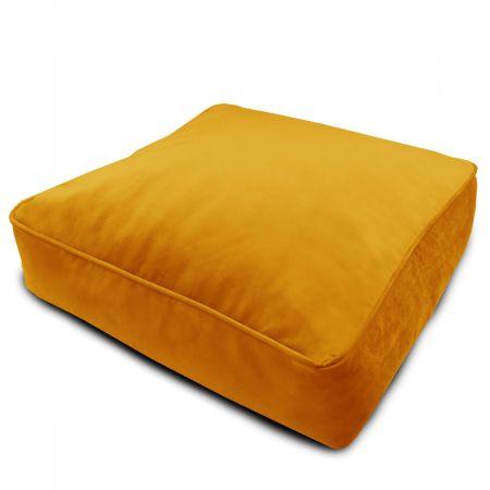 Velvet Square Floor Cushion - Mustard