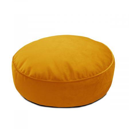 Velvet Round Floor Cushion - Mustard