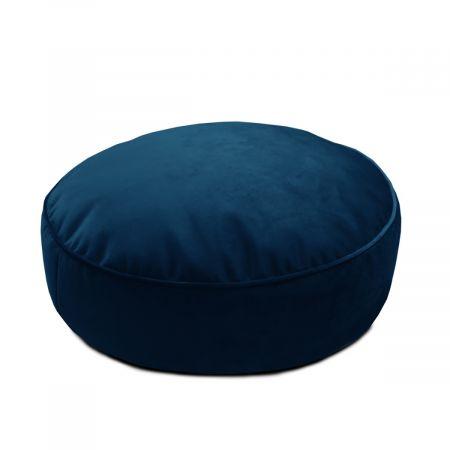 Velvet Round Floor Cushion - Peacock Blue