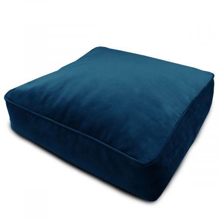 Velvet Square Floor Cushion - Peacock Blue
