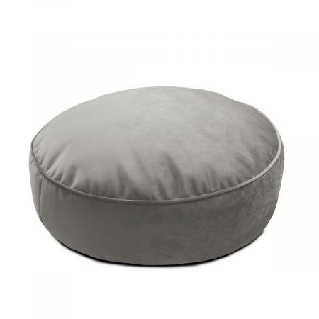 Velvet Round Floor Cushion - Pebble Grey