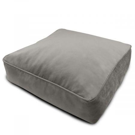 Velvet Square Floor Cushion - Pebble Grey