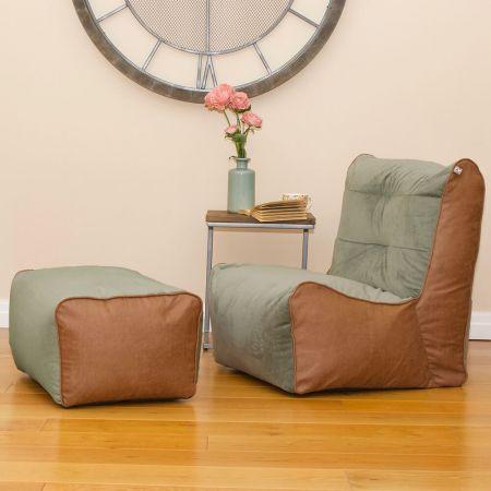 Velvet Sage Busby Chair & Ottoman Set